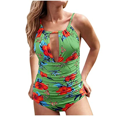 Women's Keep Secrets Halter One Piece Swimsuit Beach Swimwear Tummy Control One Piece Ruched Padded Bathing Suits: Clothing
