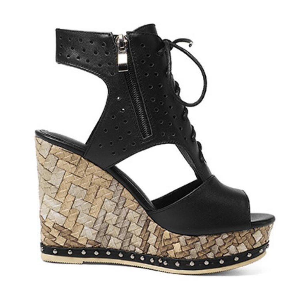 GAOLIXIA Frauen Damen Echtes Leder Plattform Heels High Heels Plattform Pumps Sommermode Offene Spitze Lace Up Sandalen Party Abend So Cool 2a8ac7