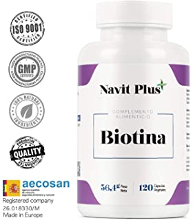Solgar Biotin Vegetable Capsules, 5000 mcg, 50 Count: Amazon.es ...