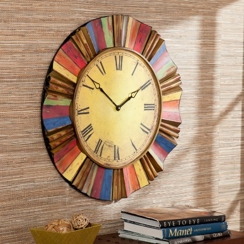 Southern Enterprises Multicolor Wall Clock (Clocks Colorful Unique Wall)