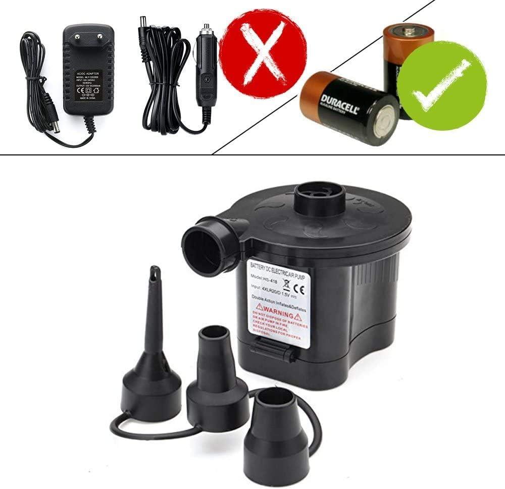 OBEST Bomba de Aire eléctrica inalámbrica con 3 boquillas de Aire 3 en 1 Bote de Bomba portátil Inflable automático para colchón de Aire, Cama Inflable
