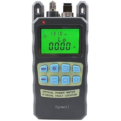 Egomall Cable de fibra y 1 mw 3.1 mi portátil óptico medidor de potencia con comprobador