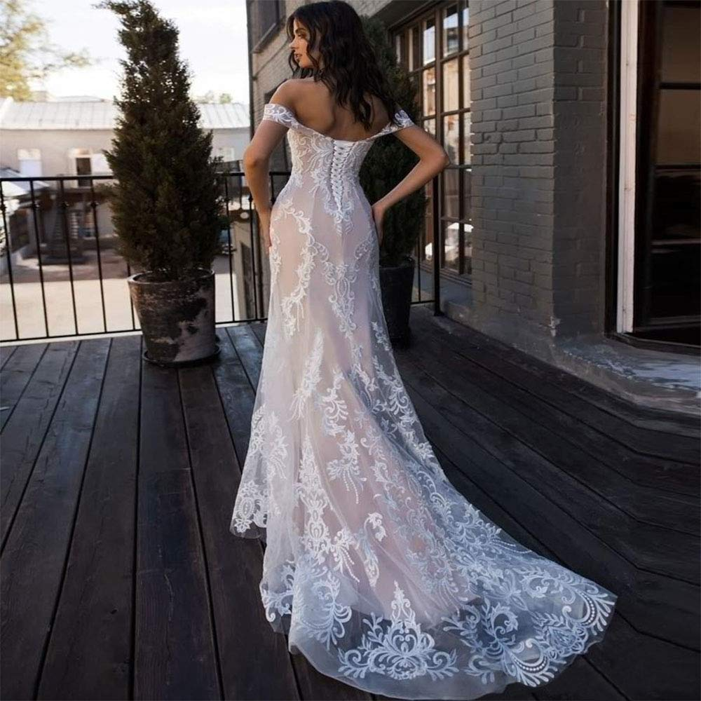 2b70ff9d5964 XJLY Elegant Off The Shoulder Applique Mermaid Weding Dresses with Court  Train Bridal Gowns at Amazon Women's Clothing store: