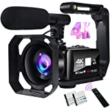 Video Camera 4K Camcorder 48MP Image Vlogging Camera with Wi-Fi 18X Digital Zoom YouTube Camera with Microphone, 3'' Touch Sc