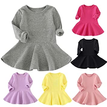 8b54d9014 Image Unavailable. Image not available for. Color: FEITONG Baby Girl Dresses  Candy Color Long Sleeve Solid Princess Casual Toddler Kids ...