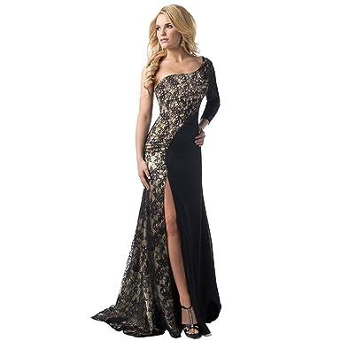 5b7fa525ae Transer 🌸 Women Sexy Single Sleeve Formal Wedding Bridesmaid Long Ball Gown  Cocktail Dress (S