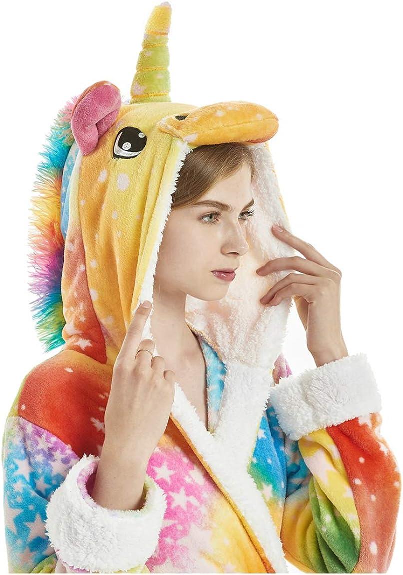 Unicorno Accappatoio Onesie Adulto Pigiama Animale Cartone Animato Camicia da Notte Morbido Pigiameria Robe Halloween Natale Vestaglia con Cappuccio