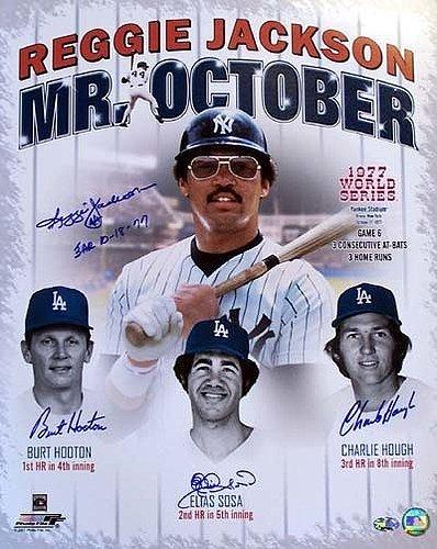 3 World Series Homeruns Signed 16 x 20 Photo 3HR 10-18-77 With 4 Signatures Including Reggie Jackson Burt Hooton Elias Sosa and Charlie Hough - PSA/DNA Authentication - Autographed MLB - Run 3 77