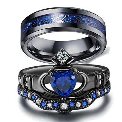Amazon Com Loversring Couple Ring Bridal Set His Hers Black