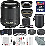 Nikon AF-S DX NIKKOR 55-200mm f/4-5.6G ED VR II Lens and Platinum Accessory Bundle W/52mm Wide-angle & Telephoto Lens, Variety of Filters + 16GB SD Card & Xpix Lens Hanling Accessories