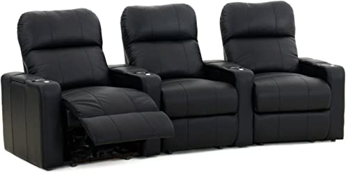 Octane Turbo XL700 Black Bonded Leather with Manual Recline Row of 3 Curved