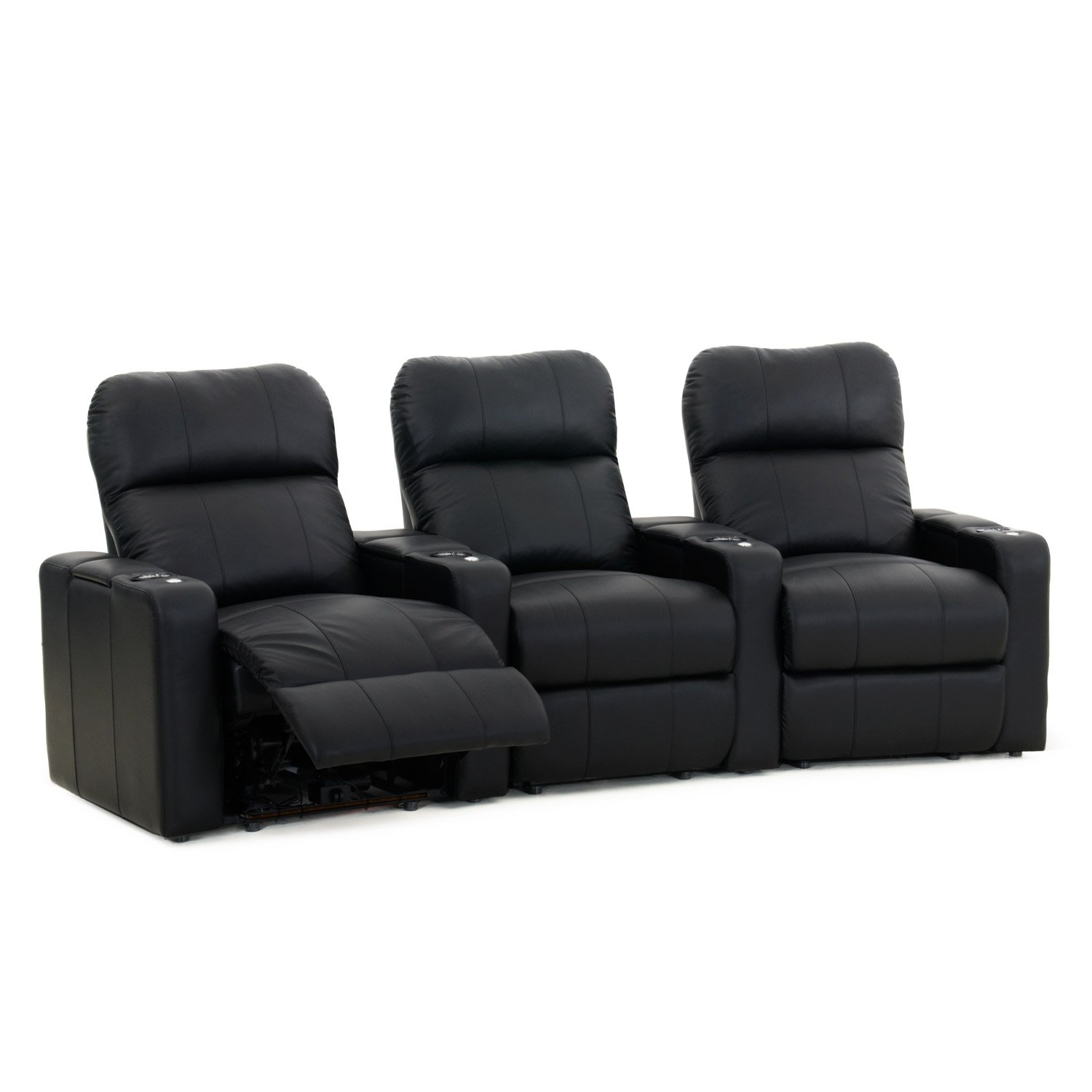 Octane Turbo XL700 Black Bonded Leather with Manual Recline (Row of 3 Curved) by Octane Seating