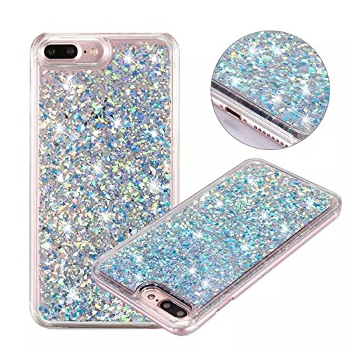 iPhone 7 Plus Glitter Case, NOKEA Hard Rubber Flowing Liquid Floating Luxury Bling Glitter Sparkle Flexible Protective Shell Bumper Case Cover for iPhone 7 Plus 5.5inch (Silver#3)
