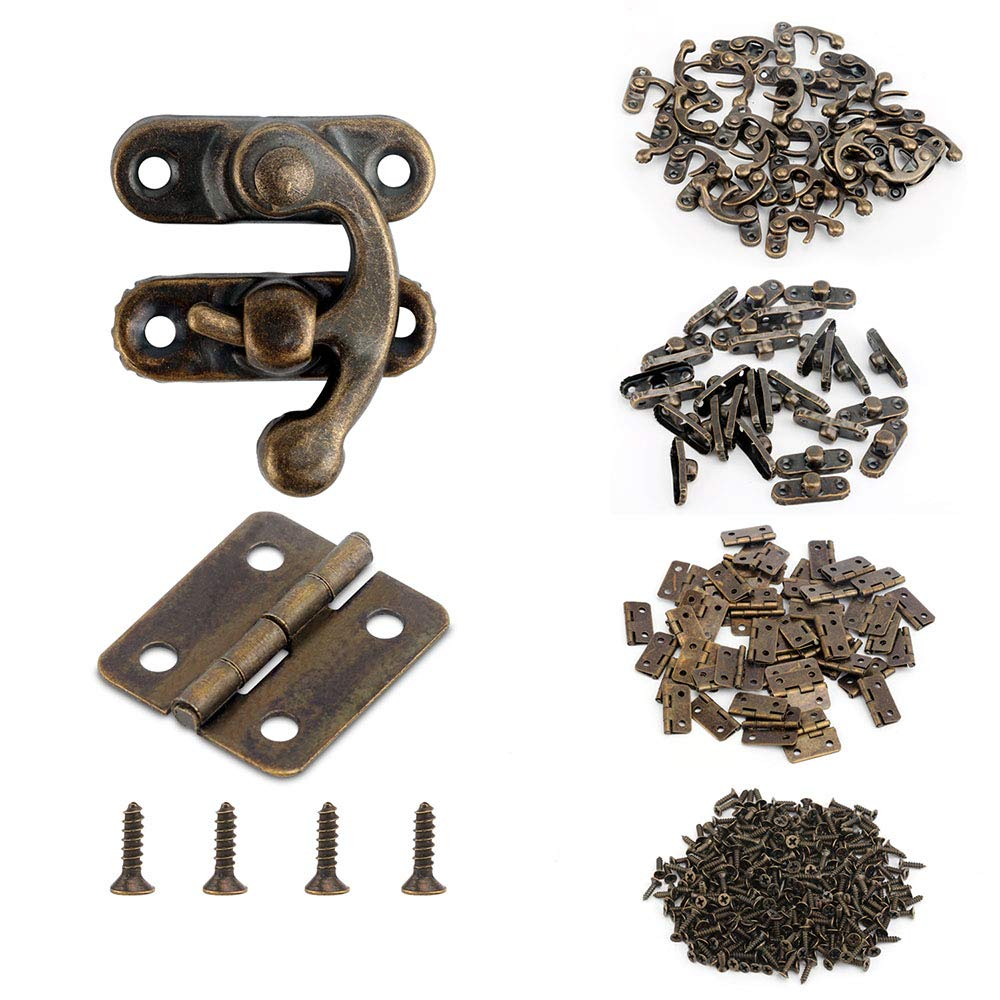 Alcoon 50 Sets Antique Bronze Mini Hinges and 30 Sets Antique Right Latch Hook Hasp with Replacement Screws for Wood Jewelry Box - Bronze Tone by Alcoon