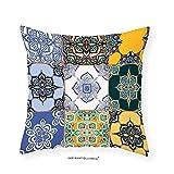 VROSELV Custom Cotton Linen Pillowcase Moroccan Decor Multi Set of Islamic and Portuguese Tile Patterns in Various Tones and Textures Boho Print Bedroom Living Room Dorm Decor Multi 22''x22''