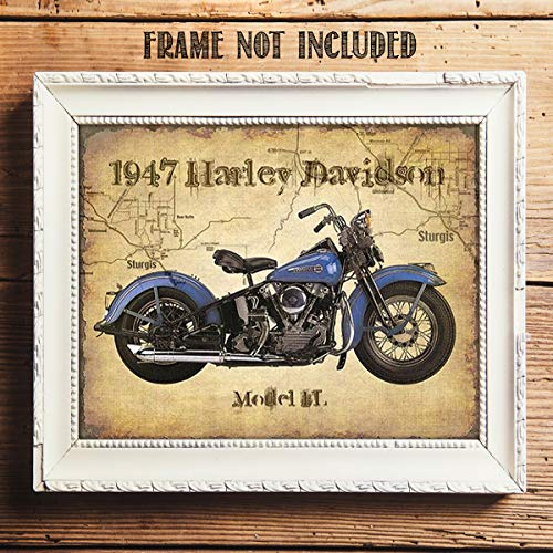 Harley Davidson- 1947 Model Motorcycle Vintage Print on Sturgis Map- 8 x10 Wall Decor- Ready To Frame. Harley Davidson Gifts- Home Decor- Office Decor. Great for Man Cave- Game Room- Bar- Garage.