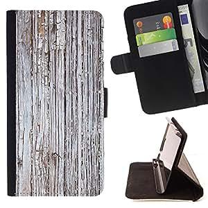 - Grey Rustic Worn Wood Imitation - Estilo PU billetera de cuero del soporte del tir???¡¯????n [solapa de cierre] Cubierta- For Samsung Galaxy S4 Mini i9190 £¨ Devil Case £©