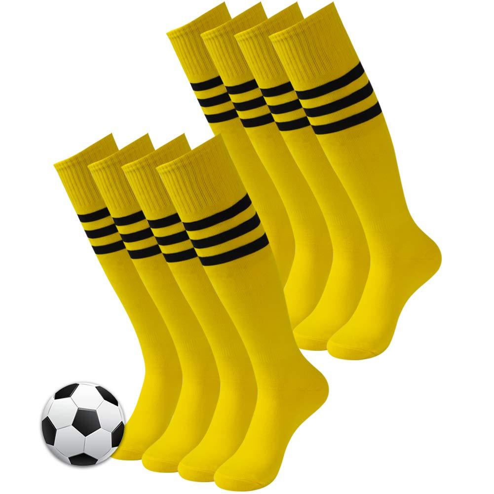 3street Soccer Tube Socks, Unisex Striped Vintage Knee-High Breathable Comfort Sport Soccer Football Compression Socks,Long Baseball Socks Back to School Socks White 4 Pairs by Three street