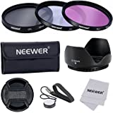 Neewer 58mm Professional Lens Filter Accessory Kit for Canon Nikon Sony Samsung Fujifilm Pentax and Other DSLR Camera Lenses with 58MM Filter Thread - Includes Filter Kit (UV, CPL, FLD) + Filter Carry Pouch + Tulip Flower Lens Hood + Snap-On Lens Cap with Cap Keeper Leash + Lens Cleaning Cloth