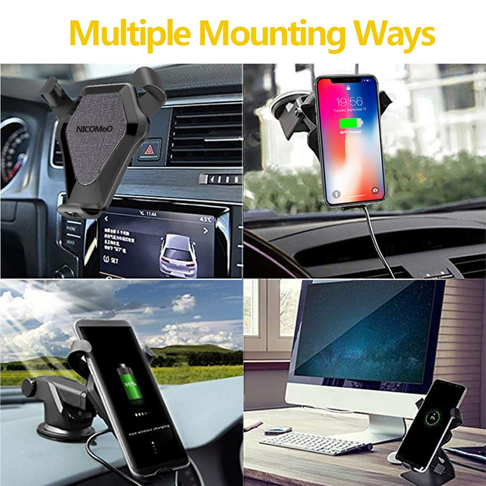 Denim grey Air Vent and Dashboard Vehicle Phone Charger for Samsung Galaxy S8//S8 Plus//S7 Edge//S6 Edge Plus Auto-clamping Qi Fast Charging One Touch for iPhone X//8//8 Plus Wireless Car Charger Mount