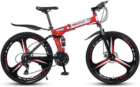 QZ Folding Mountain Cercanías Ciudad bici del camino de 26 pulgadas de 27 velocidades bicicletas Ligera completa Suspensión Suspensión Tenedor del marco del freno de disco señoras de edad Hombres Unis: Amazon.es: