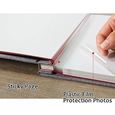 Photo Album Self Adhesive 3x5 4x6 5x7 8.5x11 Magnetic Scrapbook Album DIY Length 11 x Width 10.8 Inches with A Metallic Pen