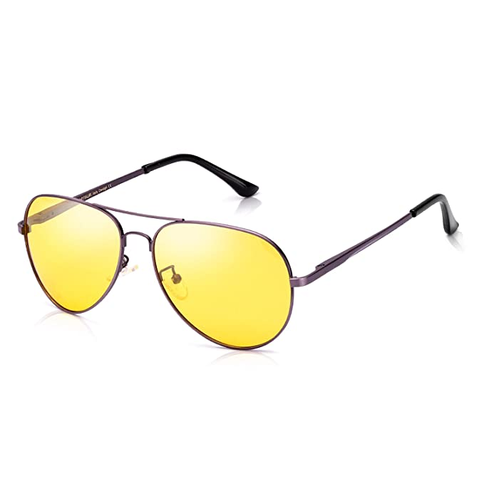 df5d703b9d Gafas de sol Aviator HD de visión nocturna para conducción - elegantes gafas  de sol polarizadas de seguridad - lentes de color amarillo - -: Amazon.es:  Ropa ...