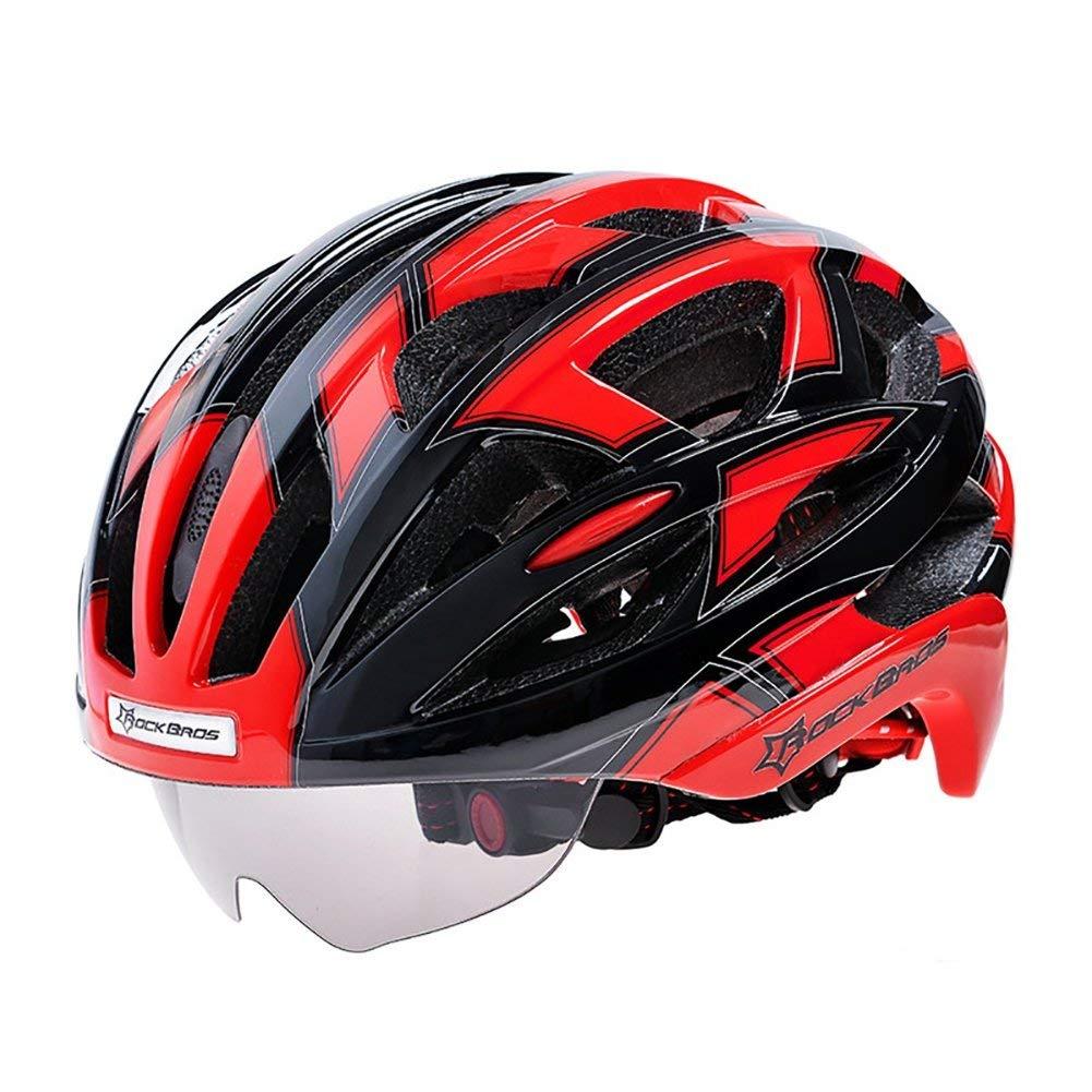 サイクリング自転車用ヘルメット サイクリングヘルメット男性/女性通気性32通気孔ゴーグルMTBロード自転車バイクヘルメット付き3ペアレンズ スポーツ用保護ヘルメット (色 : 001) B07MSCJKH1 1