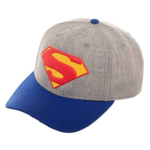 8da2883a Amazon.com: DC Comics Superman Pre-Curved Snapback Hat: Clothing