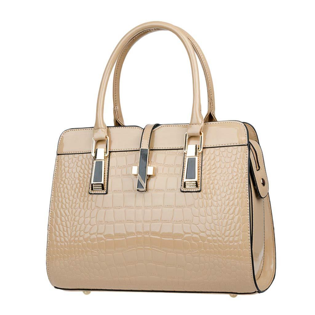 Women's Tote Pure Color Lattice Handbag Detachable Shoulder Strap Shoulder Bags Crossbody Bag Messenger Bag