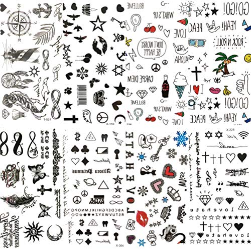 COKTAK 8 Pieces/Lot Small Sexy Lips Leaf Black Cartoon Temporary Tattoo For Kids Cute Star Children Tattoo Sticker Infinity Love Women Body Finger Art Waterproof Tatoos Girls Diamonds