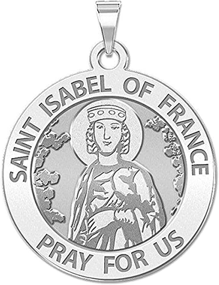 Solid 14K White Gold 1 Inch Size of a Quarter PicturesOnGold.com Saint Isabel of France Religious Medal