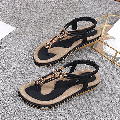 Scarpe Bohemia Sandali 3 Donna Elegante Toe T Jeelinbore Nero Clip Da Spiaggia Metallo Cinturino A Infradito perline pxwTq87SA