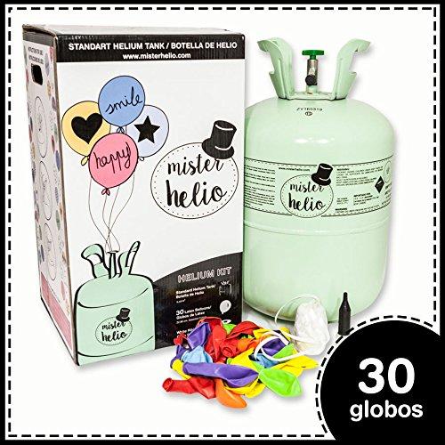 botella de helio y globos