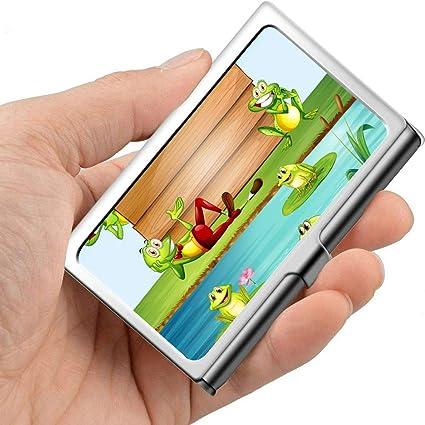 Letrero de madera Many Frogs By Pond Estuche para tarjetas de presentación lindo Estuche para tarjetas de presentación único Metal profesional 3.81x 2.7 X 0.29 pulgadas Portatarjetas de presentación: Amazon.es: Oficina y