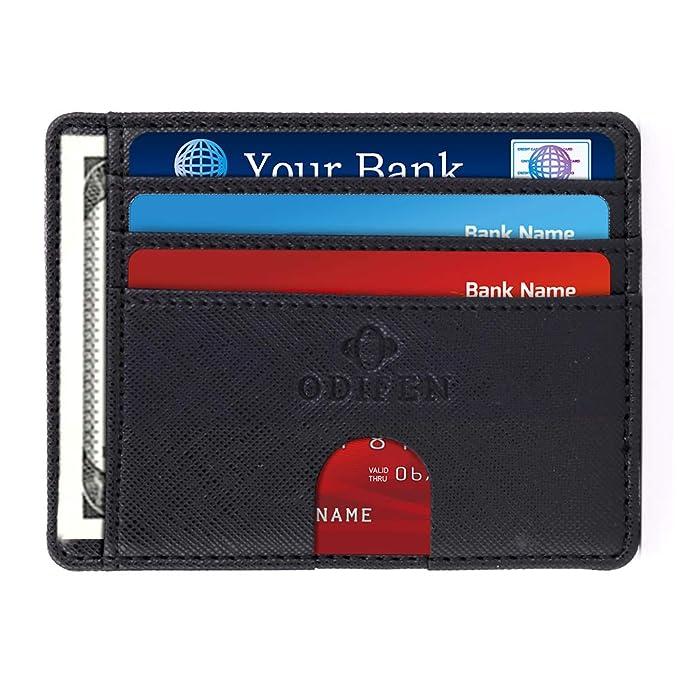 bdeabdc206d Slim Wallet RFID Front Pocket Wallet Minimalist Secure Thin Credit Card  Holder by Odifen (Black