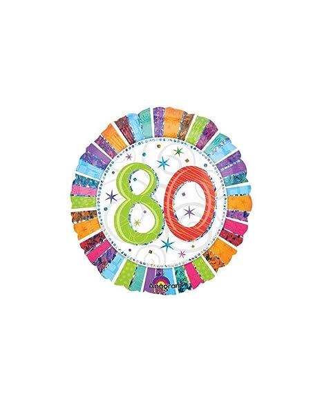 Globo cumpleaños 80 años Radial Mylar 45 cm * 24252: Amazon ...