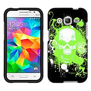 Samsung Galaxy Core Prime Case, Snap On Cover by Trek Green Skull on Black Case