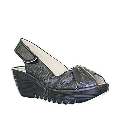 4fdaaac7a418 Womens Fly London Yakin Black Leather Wedge Sandal SIZE 5  Amazon.co.uk   Shoes   Bags