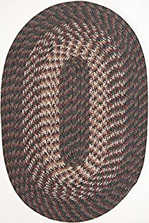 "product image for Hometown 5'6"" x 8'6"" (66"" x 102"") Oval Braided Rug in Hunter Green"