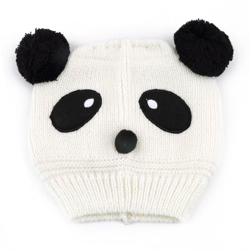 White Baby Girl Boy Kids Panda Hat Knit Winter Warm Crochet Cap