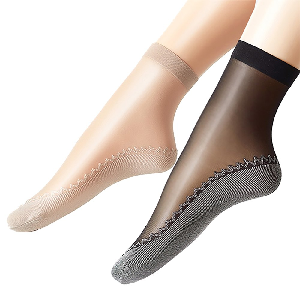 Ueither Women's 12 Pairs Silky Anti-Slip Cotton Sole Sheer Ankle High Tights Hosiery Socks Reinforced Toe(Black& Beige)