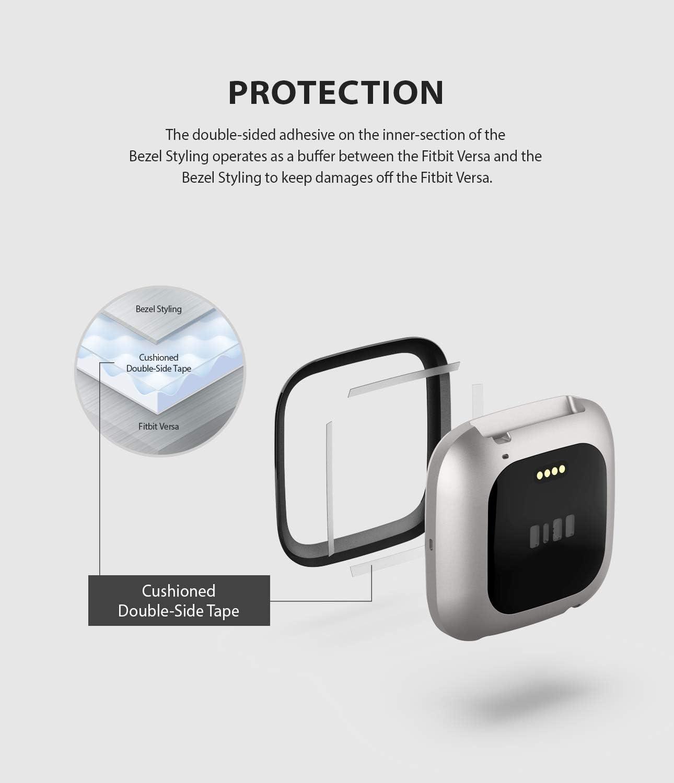 03 Black Acier Inoxydable Ringke Bezel Styling pour Coque Fitbit Versa 2 Anti-Rayures Protecteur pour Un Nouveau Style