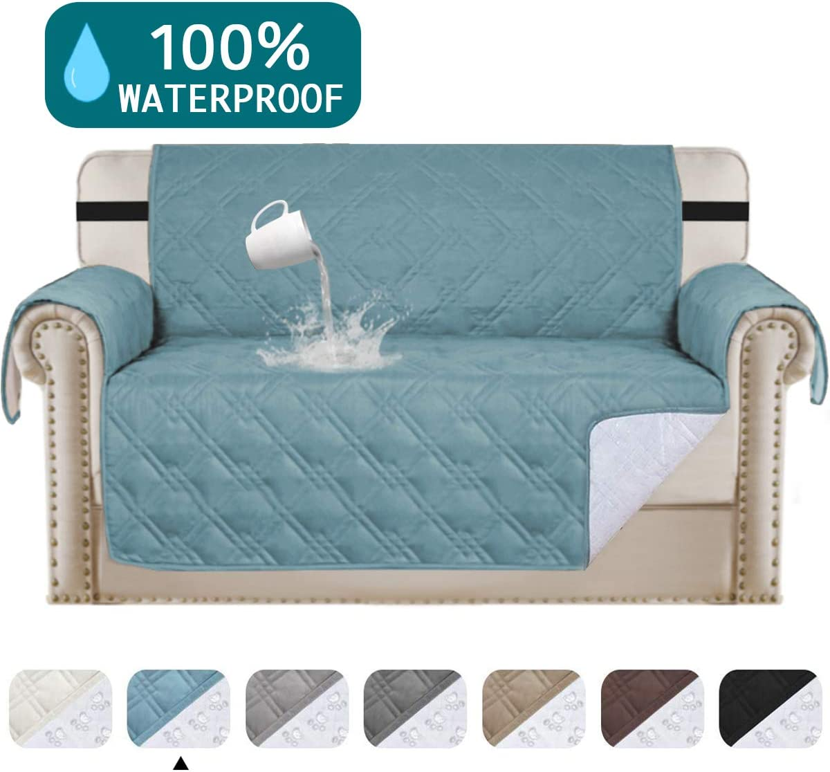 Amazon Com 100 Waterproof Loveseat Cover For Leather Couch Quilted Furniture Protector Stay In Place Strapless Couch Cover Prevent Stains Couch Protector For Dogs Pet Couch Covers Loveseat 54 Blue Furniture Decor