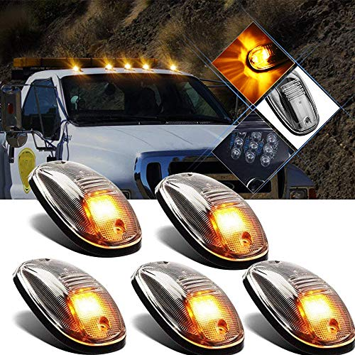 5pcs Amber Led Cab Marker Lights Clear Lens 9 Led Roof Top Clearance Running Lights For 2003 2018 Dodge Ram 1500 2500 3500 4500 5500 Pickup Trucks Suv Rv
