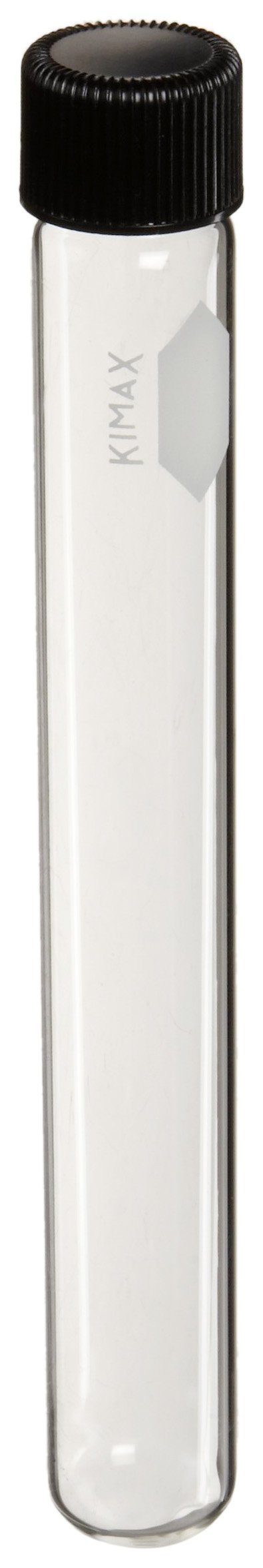 Kimax 45066A-20125 KG-33 Borosilicate Glass 25mL Screw Cap Culture Tube, with Unattached PTFE-Faced Rubber Liner (Pack of 48)
