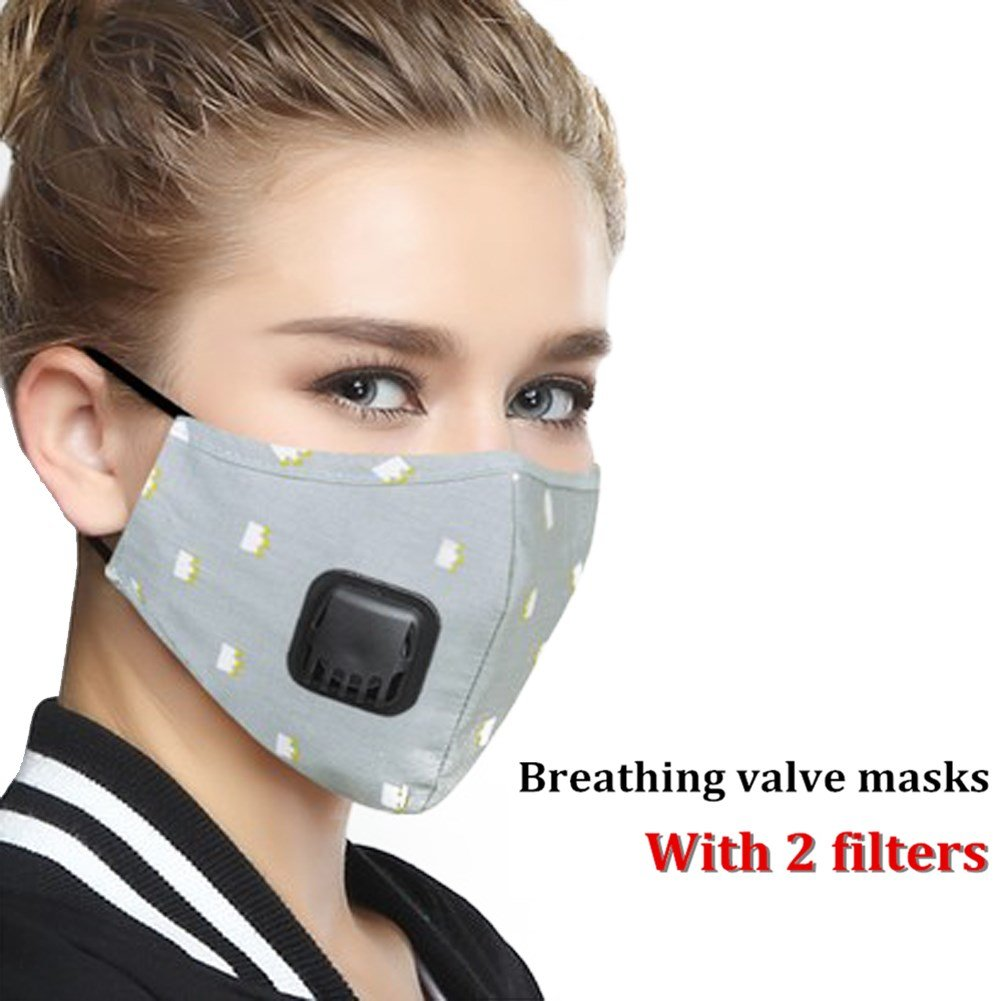 ZWZCYZ Anti Pollution Mask Dust Mouth Mask N95 Washable Respirator with Adjustable Straps Allergy / Asthma / Travel / Cycling / Men / Women / China(Mask + 2 Filters) (Medium(women's), Grey Crown)