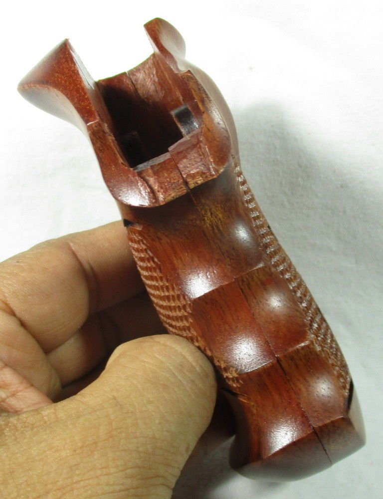 Smooth as Silk WOOD CHECKERED GRIPS FOR S &W REVOLVERS, K, L FRAME, SQUARE ROUND BUTT FINGER GROOVES, NEW by Smooth as Silk (Image #3)