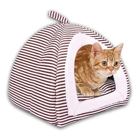 KOBWA Esteras de Cama para Gatos Calentamiento automático 2 en 1 Triángulo cómodo y Plegable Perro