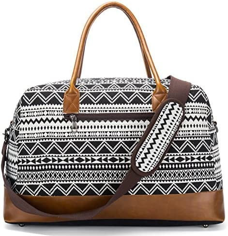 Weekender Duffel Bag for Women Mens Canvas Overnight Travel Carry-on Tote Bags Black